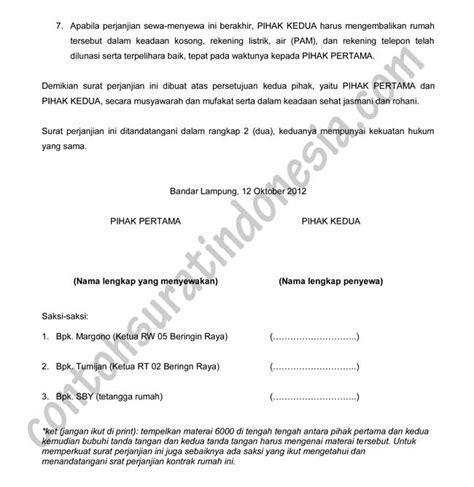 doc contoh draft surat perjanjian sewa kontrak rumah design bild