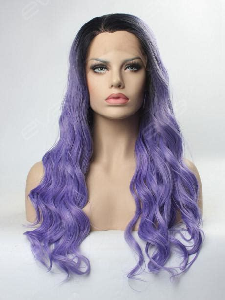synthetic hair active with hot water water wavy dark purple synthetic lace front wig all