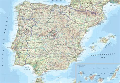 map of spain and portugal spain and portugal road map size