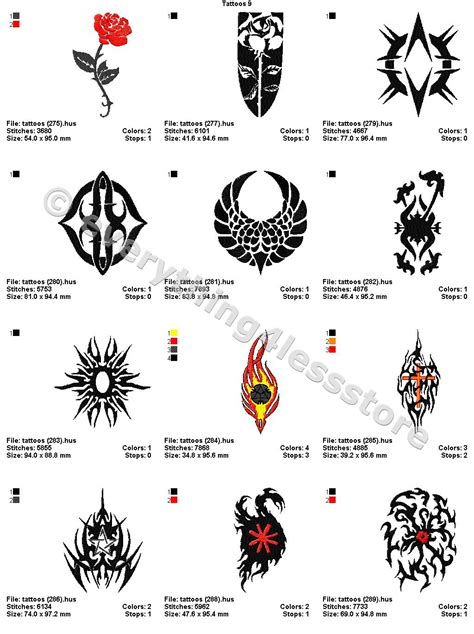 4x4 tattoo designs 48 tattoos 4x4 volume 9 mega embroidery designs on cd