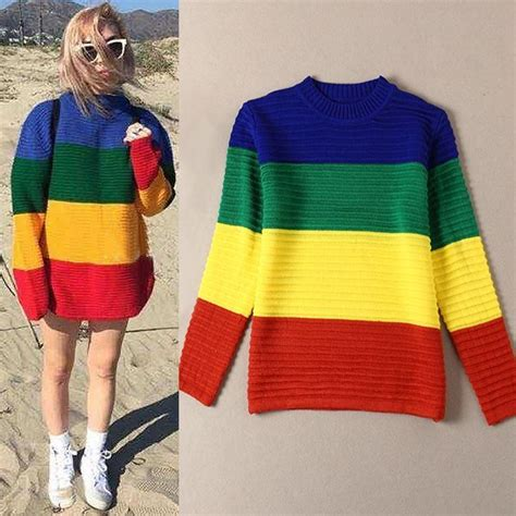 colored sweater autumn unif knitted rainbow colored sweater coat
