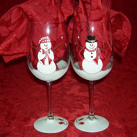 Decorated Wine Glasses by Snowman Painted Wine Glasses