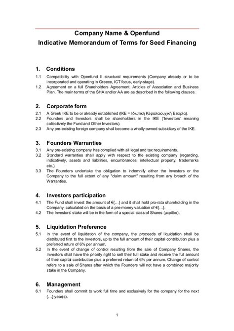 venture capital term sheet template openfund term sheet template