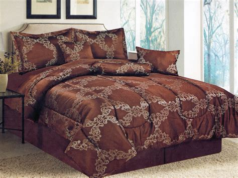 Chocolate Brown Bedding Sets 7 Pc Floral Motif Damask Striped Jacquard Comforter Set Chocolate Brown
