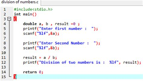 div code information c program code for division of numbers