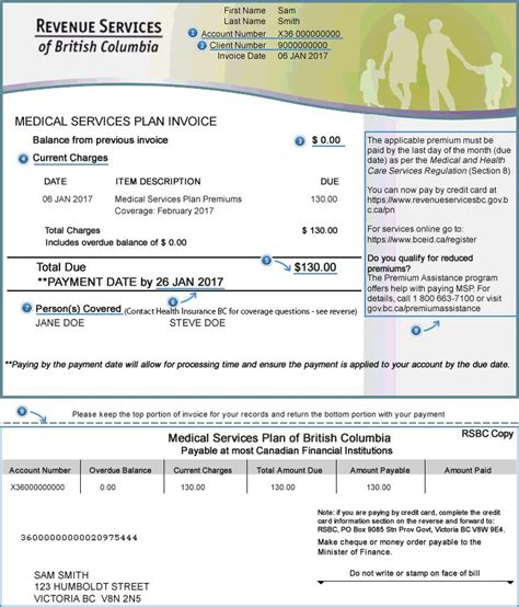 medical card section contact number understanding your invoice province of british columbia