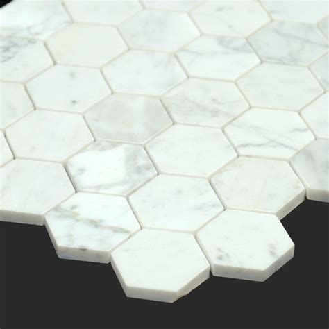 Honeycomb Mosaic Floor Tiles by Bianco Carrara White Marble 2 Inch Honeycomb