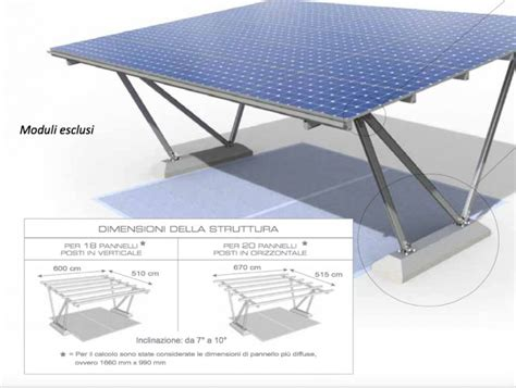 zavorre per gazebo pensilina fotovoltaica 2 auto per 5kw impianto