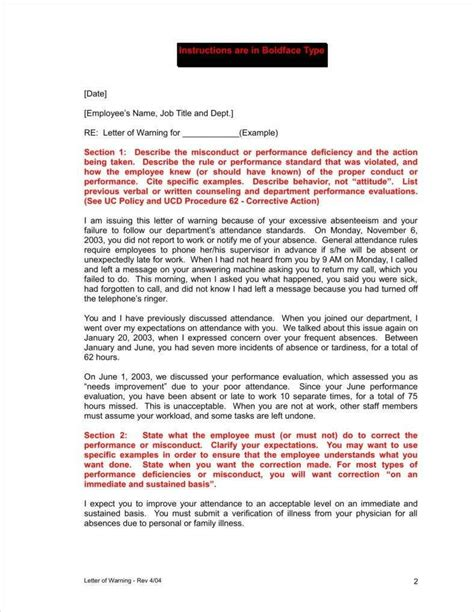 unauthorised absence work template letter