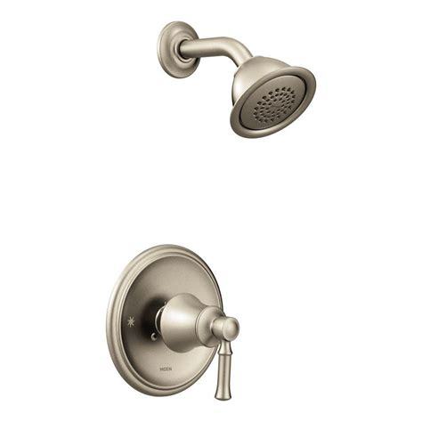 Shower Only Faucets by Moen Dartmoor Posi Temp Watersense 1 Handle Wall Mount Shower Only Faucet Trim Kit In Brushed