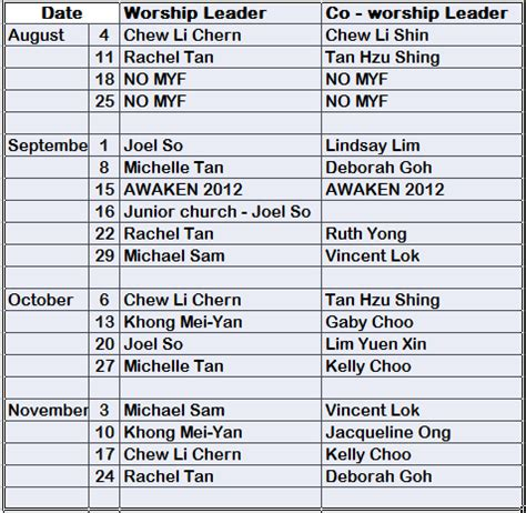 worship schedule template methodist youth fellowship tmc pj praise team schedule