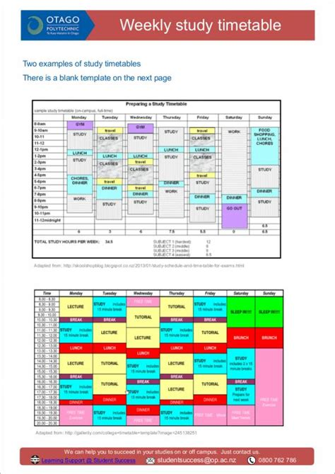15 Study Schedule Sles Templates Sle Templates Study Schedule Template