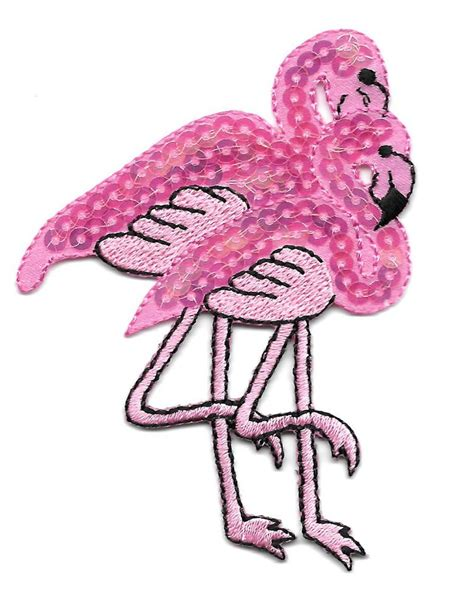 flamingo tropical bird duo embroidered sequin iron on