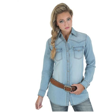 light denim shirt womens wrangler s premium sleeve denim shirt 670780