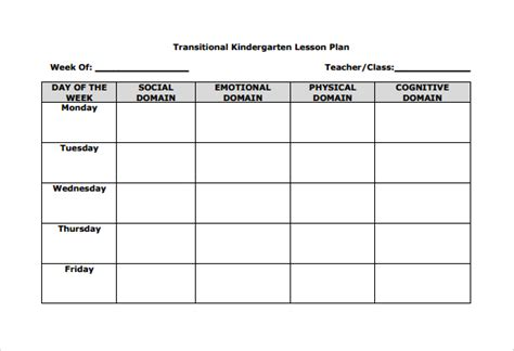 Blank Unit Lesson Plan Template by Blank Lesson Plan Templates Free