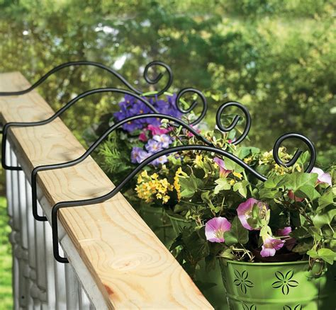 Deck Railing Planter Hooks set of 4 metal deck rail plant hanger planter hooks new ebay