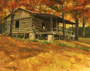 cabin in autumn painting by don langeneckert