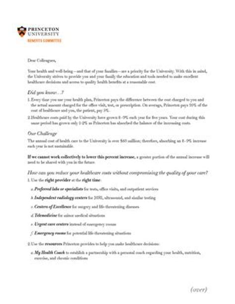 princeton cover letter open enrollment benefits committee cover letter for 2016