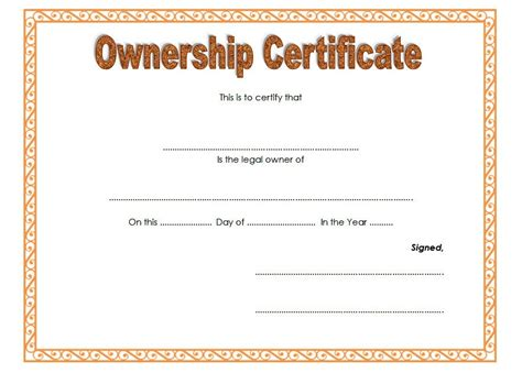 certification letter for ownership sle certificate of ownership letter choice image