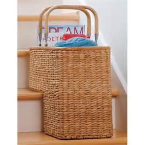 wicker stair basket in wicker baskets