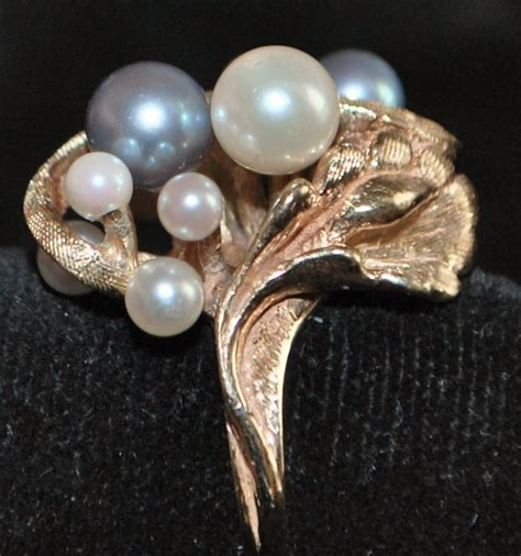 14k black and white cultured pearl ring 1960 s from