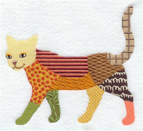 Patchwork Cat Pattern - patchwork cat machine embroidered quilt blocks by