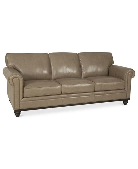 Macys Leather Furniture by Martha Stewart Collection Bradyn Leather Sofa
