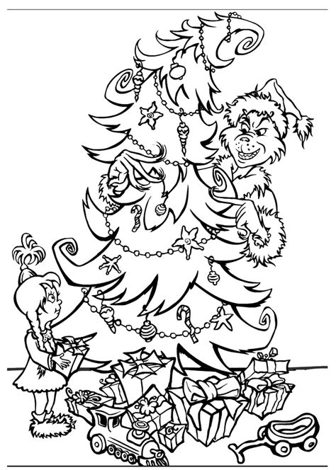 grinch tree coloring page free printable grinch coloring pages for kids