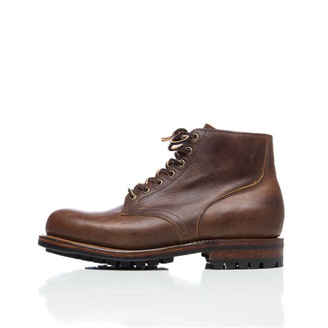 in boots viberg service leather ankle boots in brown for lyst