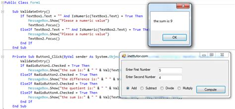 calculator visual basic basic calculator in visual basic net inettutor com
