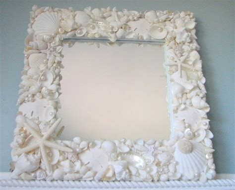 shell bathroom mirror beach decor white seashell mirror nautical decor shell