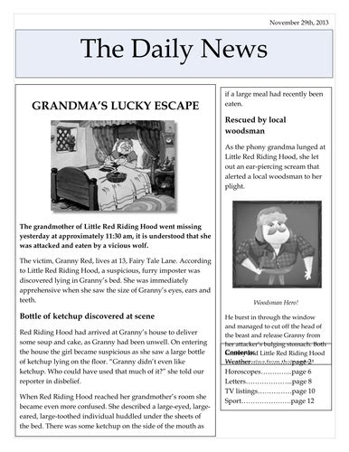 newspaper report newspaper reports by freyasmum teaching resources tes
