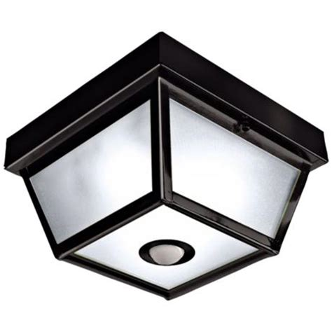 Outdoor Ceiling Light Motion Sensor Square Black Finish Motion Sensor Outdoor Ceiling Light H7013 Www Lsplus