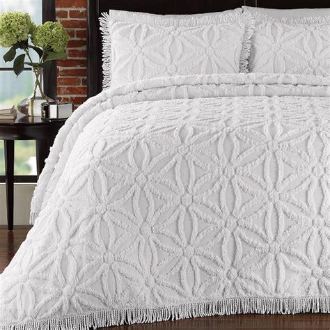 White Bedspread King 3pc Gorgeous White Floral Design 100 Cotton Chenille