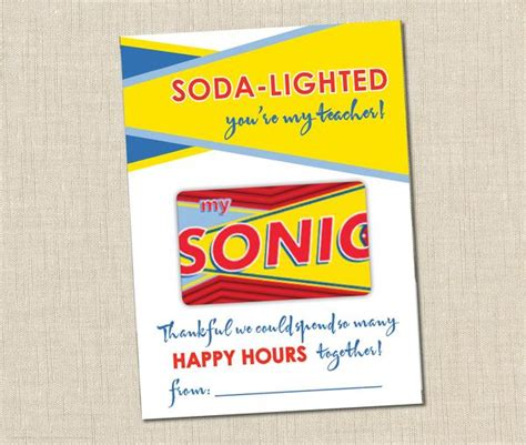 Sonic Gift Card - sonic gift card holder instant download brown paper studios