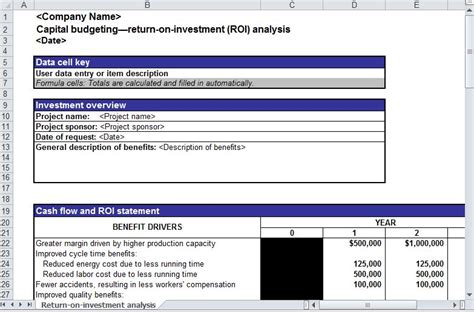 simple roi template excel roi analysis roi analysis template roi analysis