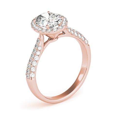 oval cut halo pave engagement ring 18k gold