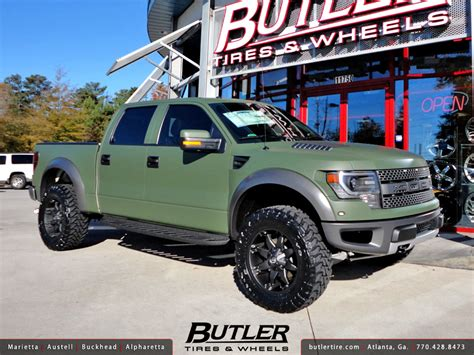 green ford raptor matte army green ford raptor with 20in fuel octane wheels