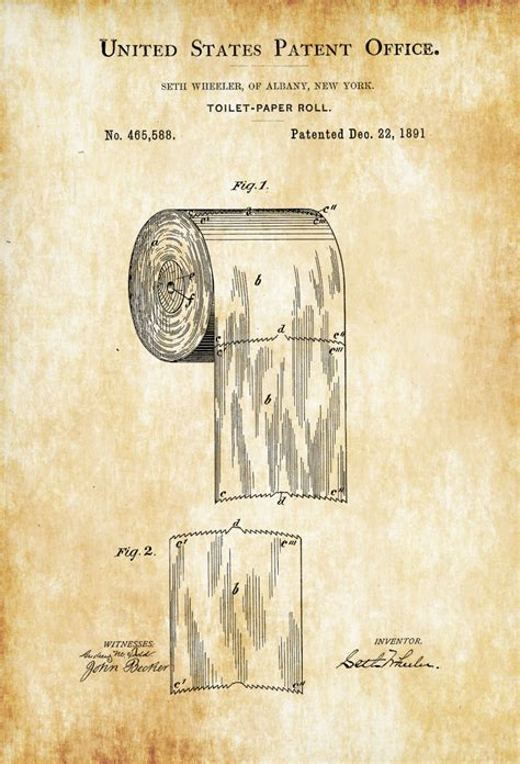 poster bathroom toilet paper patent patent print wall decor bathroom