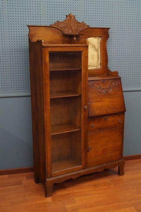 desk with bookshelf on side side by side oak desk original glass mirror
