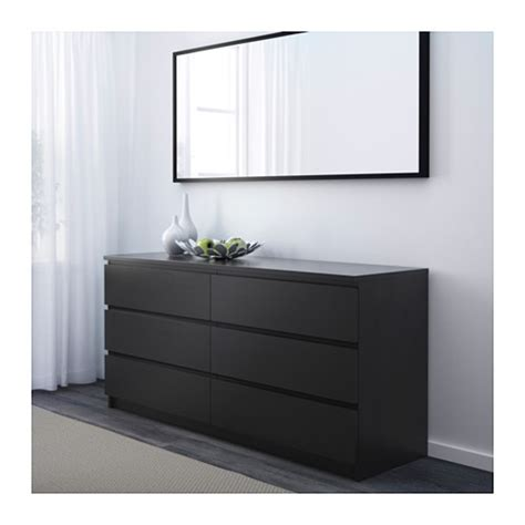 ikea malm malm chest of 6 drawers black brown 160x78 cm ikea