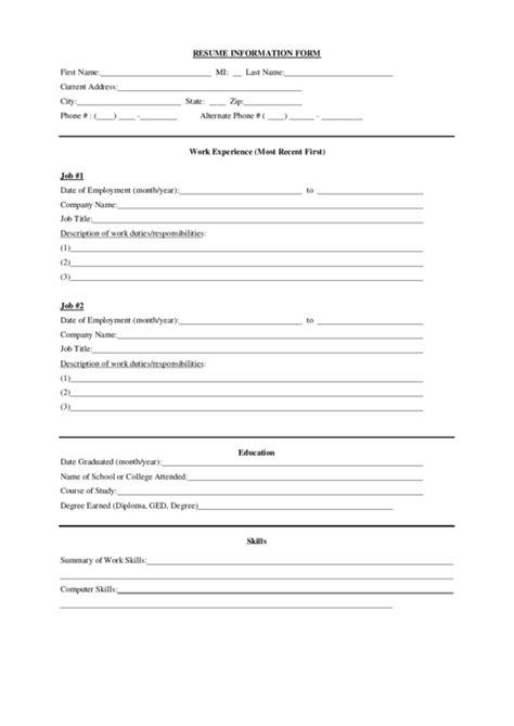 form cv online bank indonesia resume information form printable pdf download