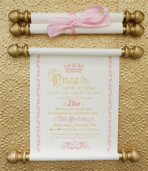 Princess Theme Wedding Invitations by Princess Scroll Birthday Invitation In Gold And Pink