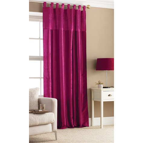 fuschia curtains one embroidered taffeta tab top curtain panel fuschia