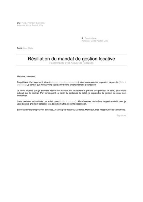 Lettre de résiliation du mandat de gestion locative - DOC