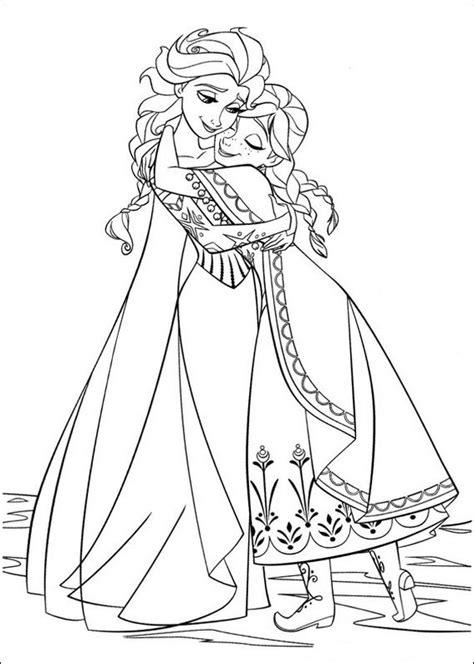 Coloriage de La reine des neiges, dessin Deux soeurs