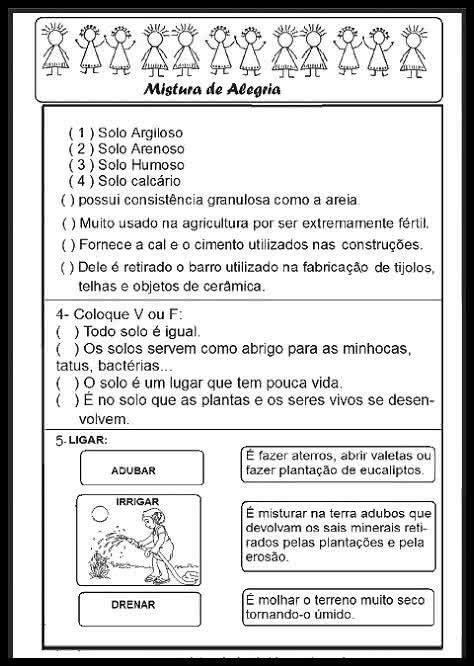 IDEIAS DE AVALIAÇÕES DE CIÊNCIAS PARA O 3° ANO (IMPRIMIR)