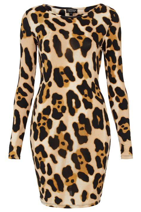 topshop animal print bodycon dress lyst