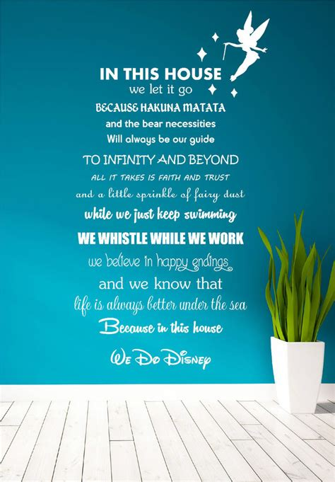 Wall Transfer Stickers disney quote poem kids family tinkerbell wall art sticker