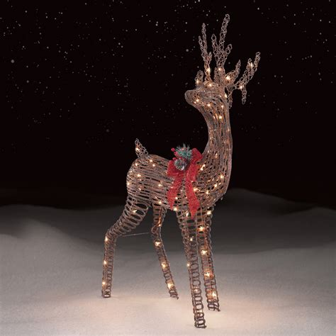 Roebuck Co Grapevine Standing Deer Outdoor Christmas Outdoor Deer With Lights